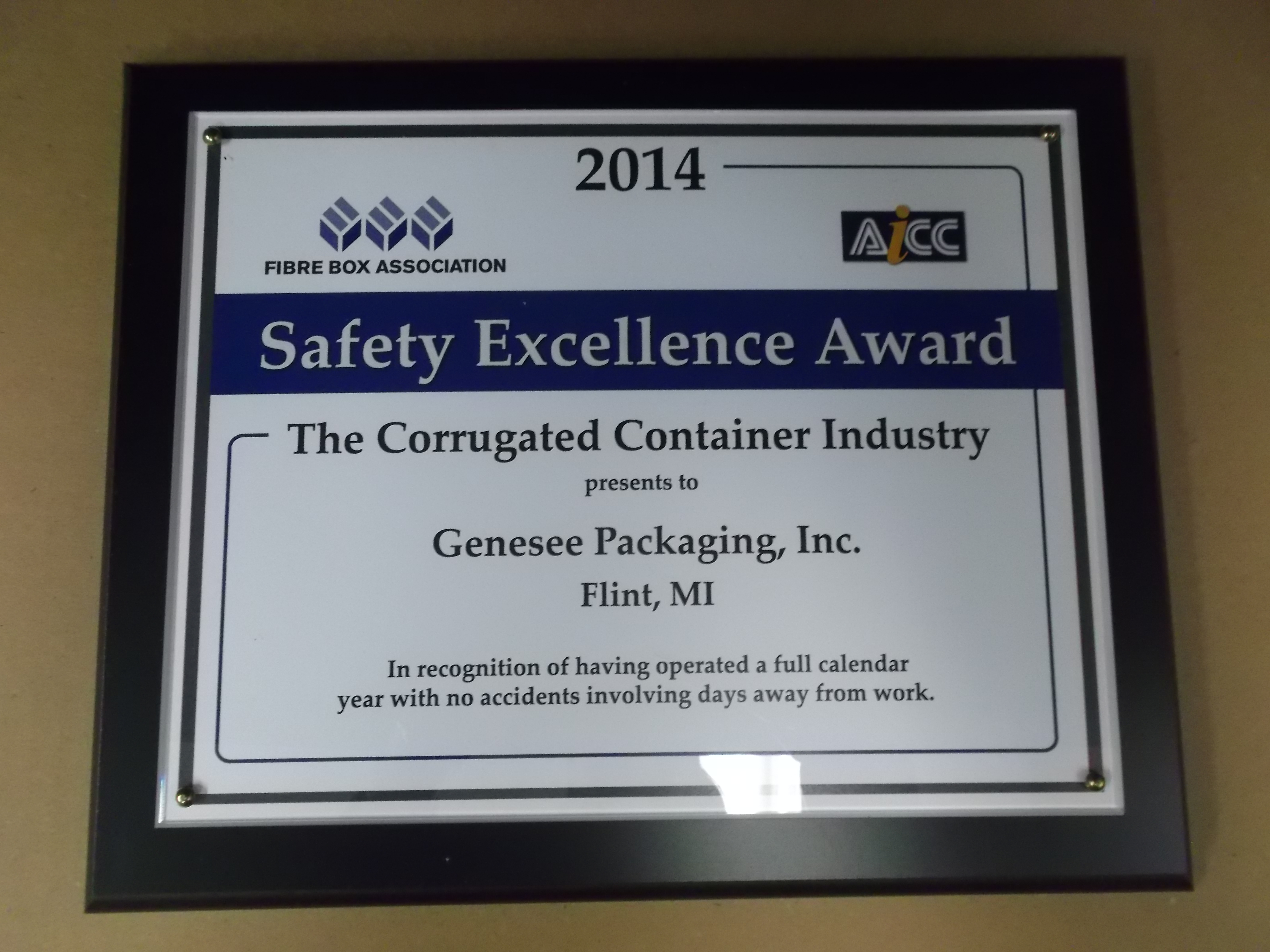 2014 Safety Excellence Award.